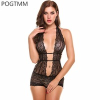 POGTMM Women Sexy One Piece Lingerie Bodysuit Ladies Halter Lace See Through Teddies Nightwear Hot Erotic
