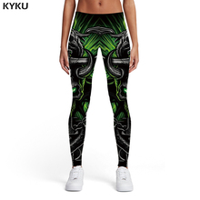 KYKU Skull Leggings Women Skeleton Ladies Black 3d Print Metal Trousers Gothic Elastic Womens Pants Jeggings