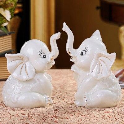 Nordic Art Ceramic White Elephant Porcelain Statue Home Living Room Furniture Studio Decor Ornament In Figurines Miniatures From Garden On