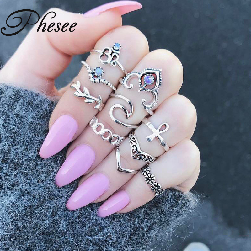 Phesee 10PCS Pack Charm Silver Color Midi Finger Ring Set for Women Vintage Boho Knuckle Party