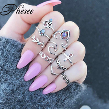 Phesee 10PCS/Pack Charm Silver Color Midi Finger Ring Set for Women Vintage Boho Knuckle Party Rings Punk Jewelry Gift for Girl