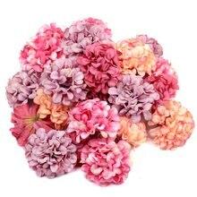 10 pçs/lote barato artificial flor de seda hortênsia cabeça para festa de casamento decoração para casa diy grinalda caixa de presente scrapbooking artesanato