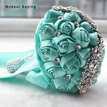 Romantic Turquoise Artificial Flowers Wedding Bouquet 2017 with Rhinestone Bridal Bouquet Wedding Accessories bouquet de mariage