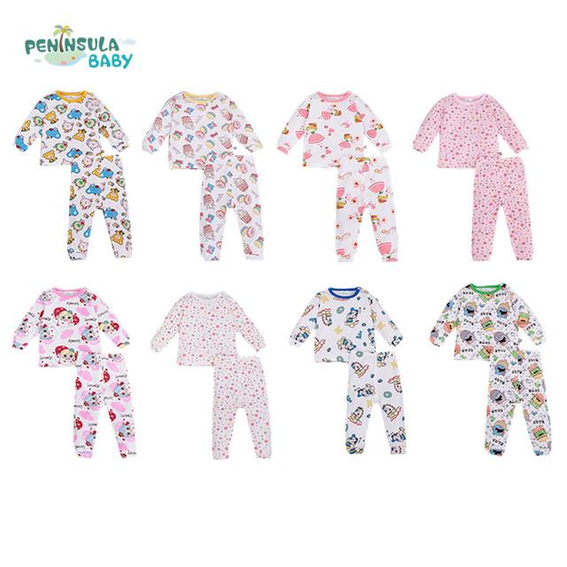2016 otoño invierno bebé ropa de algodón bebé que arropan el sistema ocasional de manga larga impreso floral t-shirt + pantalones 2 unids conjuntos