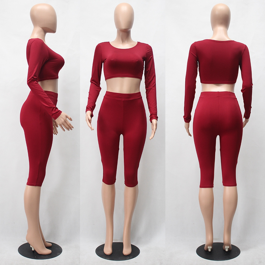 HAOYUAN 2 Piece Set Women Sexy Long Sleeve Top+Biker Shorts Track Suit Bodycon Tracksuit Casual Two Pieces Outfits Sweatsuit 30