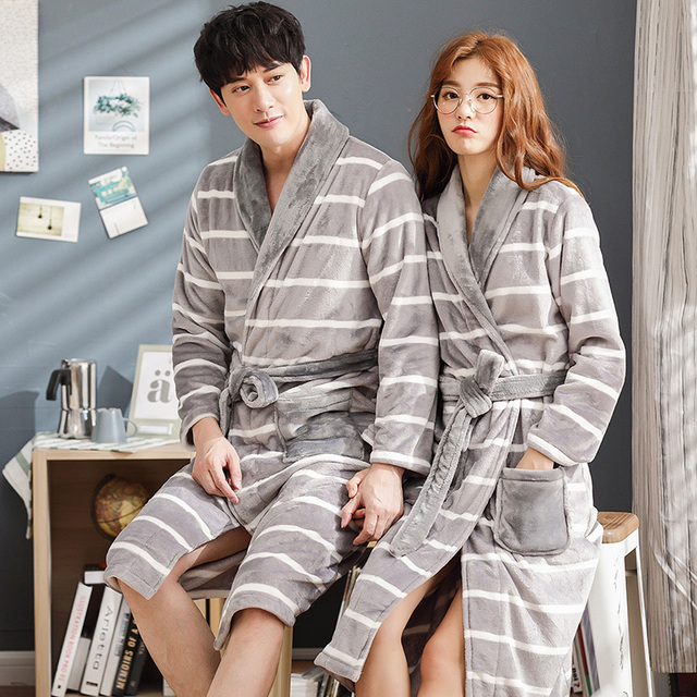 c9cbc3731a Brand Winter Lovers Striped Robe Flannel Thickening Coral Fleece Couple  Sleep Lounge Bathrobe Women Bathrobes 3XL Home Clothing