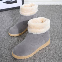 women boot 2016 Winter Leather Womens Snow Boots keep Warm Comfortable boots female fur plush flat With Round Toe Winter Shoes