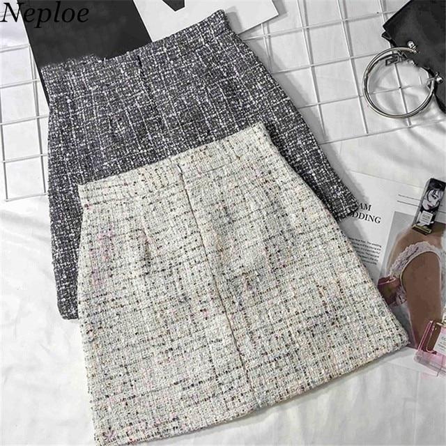 4b5bf39db Neploe Lurex Zipper High Waist Above Knee Skirt 2019 Autumn Winter New  Korean Mini Skirt Fashion