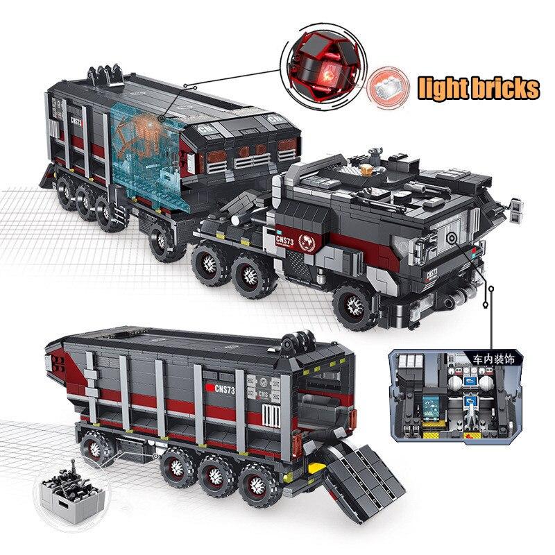 Oyuncaklar ve Hobi Ürünleri'ten Bloklar'de Yeni 2105 Adet Askeri serisi Siyah teknoloji Toprak Kamyon taşıyıcı kamyon Modeli Yapı Kitleri Blokları Tuğla Uyumlu Legoing Oyuncaklar'da  Grup 2