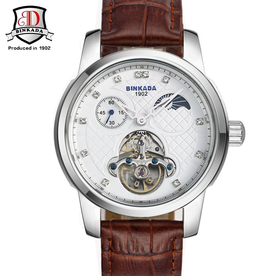 Luxury Brand BINKADA Tourbillon Watch Men Automatic Mechanical Watch Men's Self-Wind Leather Strap Watches Golden Men Wristwatch forsining latest design men s tourbillon automatic self wind black genuine leather strap classic wristwatch fs057m3g4 gift box