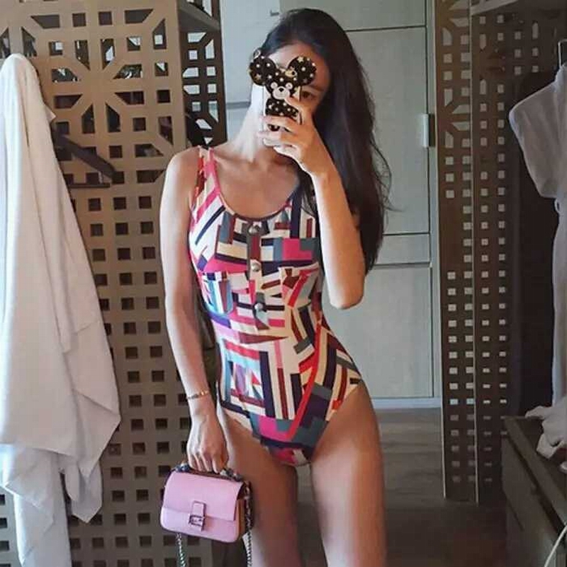 Vintage retro one piece swimwear printed high quality surfing suit bodysuit sexy swimsuit summer hot beachwear women bathingsuit