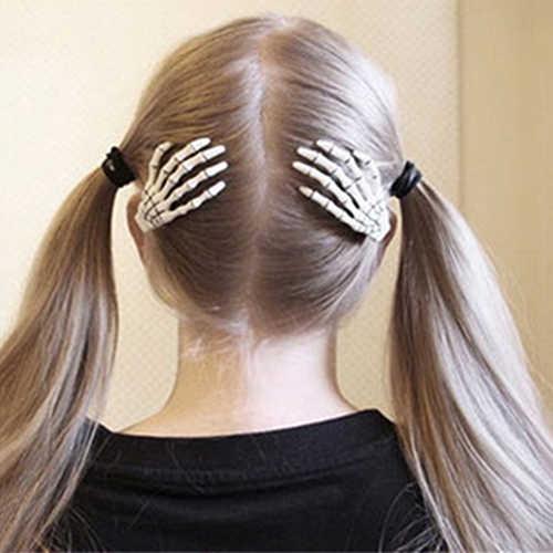 1 çift moda kafatası el kemik saç tokası tutucu hayalet İskelet saç klipleri tokalar yeni varış