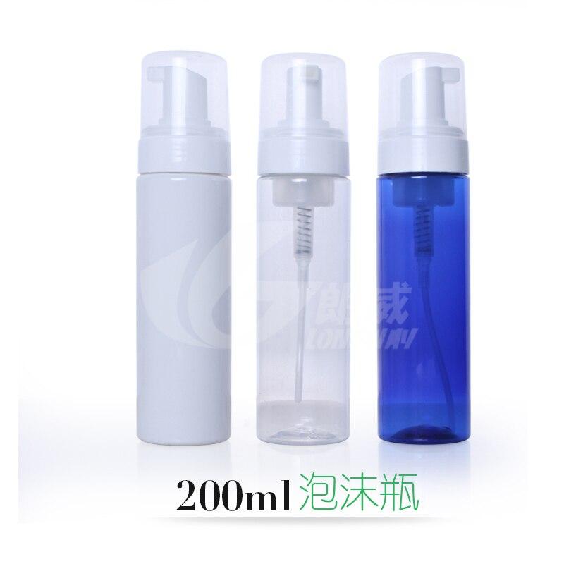 200ml Foaming Pump Soap Mousses Liquid Dispenser Pump Bottle with Cap Makeup Packing Plastic Refillable Bottles 2pcs/lot