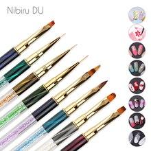 1 pcs Acrylic Nail Art Brushes Pen Multi Size UV Gel Cat Eyes Rhinestone Dotting Painting Design Nails Brush for Manicure Tool