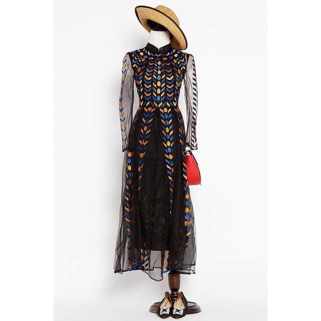 Hoge kwaliteit 2016 runway maxi dress vrouwen luxe stunning borduren kant lange mouwen floor lengte celebrity party lange dress