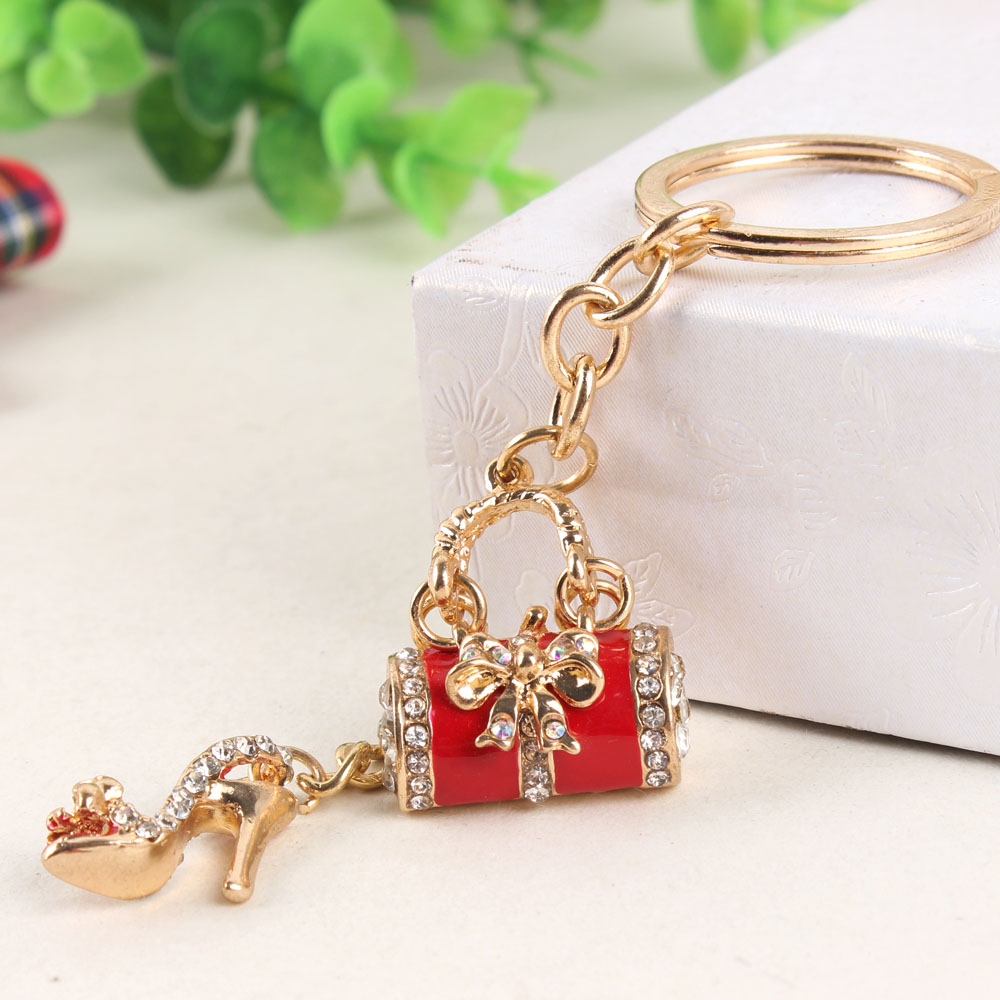 Red Lady Handbag High-heel Shoe Butterfly Bowknot New Fashion Cute Rhinestone Crystal Purse Key Ring Chain Jewelry Delicate Gift