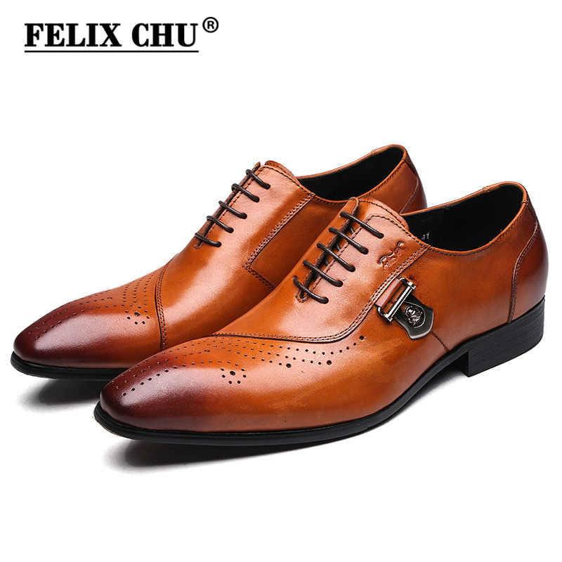 FELIX CHU Italian Designer Black Brown Brogue Shoes Genuine Leather Lace Up Men Formal Dress Oxfords Party Office Wedding 188-89