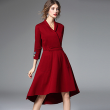 Spring new  womens clothing Euramerican embroidery Irregular splice bodycon Elegant dress Thick lace-up mini dresses