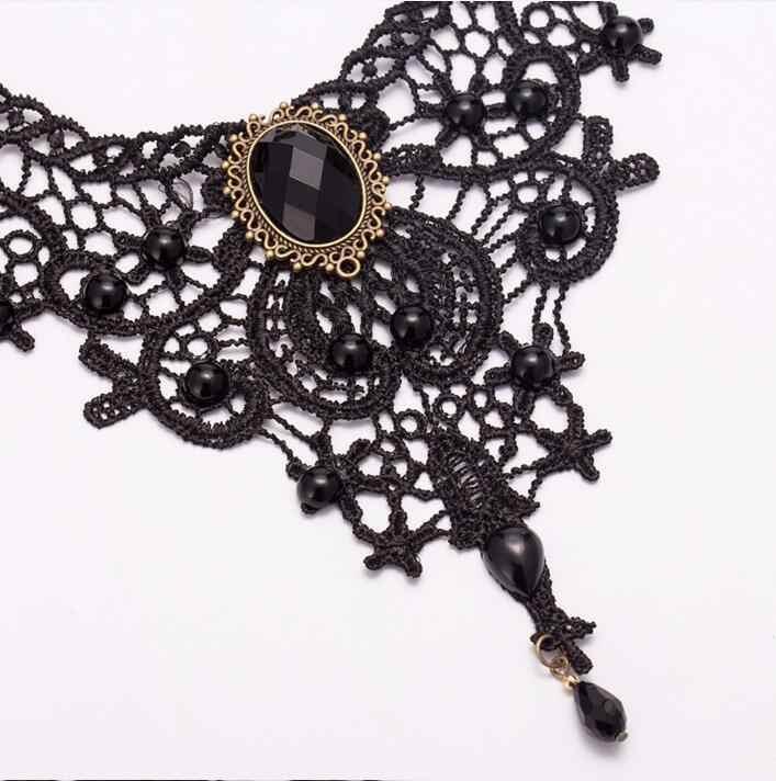 女性のためのファッション美少女手作り Jewerly ゴシックレトロヴィンテージ首輪チョーカーネックレスよだれかけ宝石チェーン