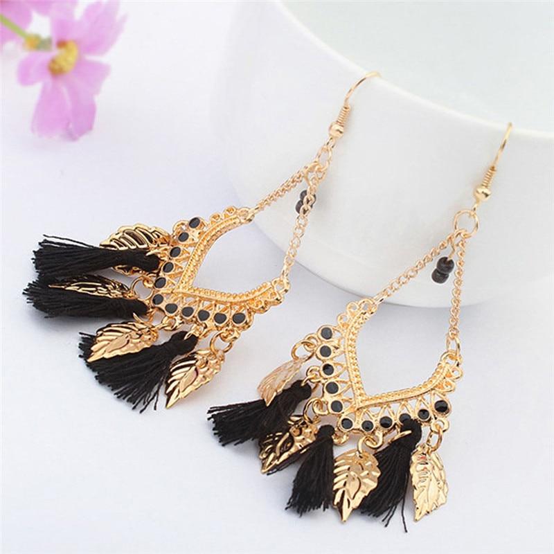 Hot Fashion Retro Earrings Leaves Tassel Pendants Earrings For Woman Bohemian Jewelery
