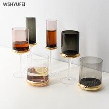Прямые продажи в скандинавском стиле позолоченные высокие стеклянные креативные цилиндрические красные бокал для шампанского стакан домашний декор, винная чашка