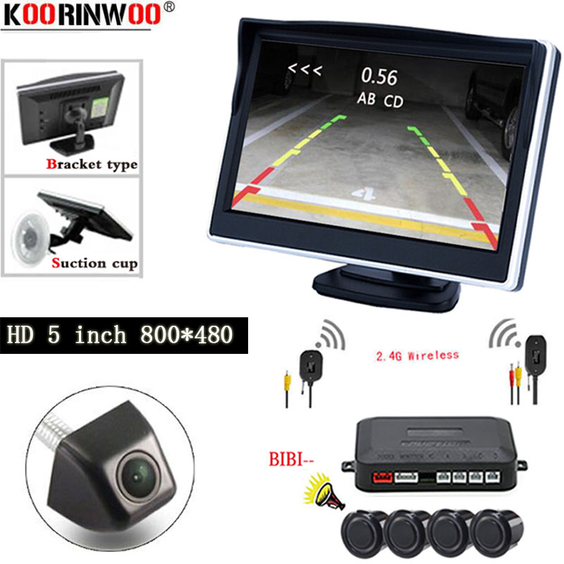 Koorinwoo Wireless Car Visible Parking Assistance Parking Sensor HD 4.3 TFT Mirror Monitor Rear View Camera Video Reverse Radar