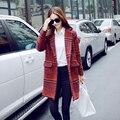 2017 de Invierno Engrosada Tweed Abrigo de Lana Femenino de Corea del Enrejado de Tela Escocesa Larga de Rayas Abrigo de Las Mujeres