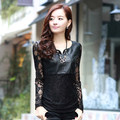 Lady Summer Fashion PU leather Patchwork lace tops female long-sleeved T-shirt Sex Women Black t Shirts M-XXXL