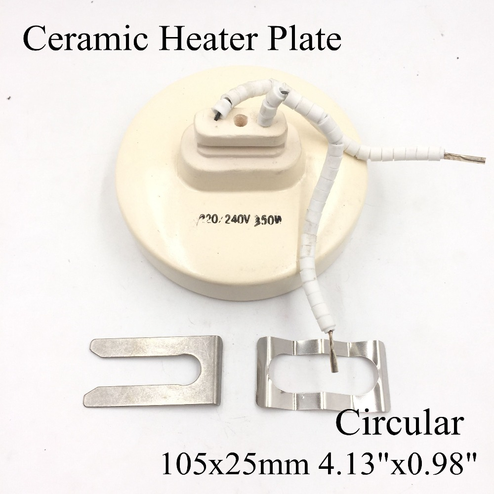 220V 105x25mm 350W White IR Infrared Circular/Round Ceramic Heater Plate Air Heating Board Pad For BGA Station Mould PTC Heater 220v 210x100mm white ir infrared curved ceramic heater plate air heating board pad for bga station mould metal clip ptc heater