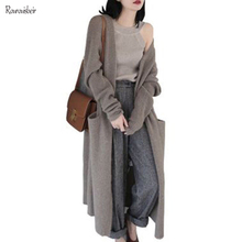 Autumn women cardigan sweater outwear V-neck cashmere knitting thickened loose sweater super-long sweater jacket with pocket women long sweater cardigan 2017 female autumn korean loose hooded coarse wool coat jacket pocket thickened knitted outwear 1kg