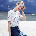 2017 New Summer Women Casual T-Shirt Floral Printed O-Neck Vintage Top Tees Elegant Short Sleeve T-shirt Female Shirt Women