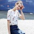 2017 Nuevas Mujeres Del Verano Top Tees Camiseta Ocasional Impreso Floral Del O-cuello de La Vendimia Elegante Camisa de Manga Corta Camiseta Femenina de Las Mujeres