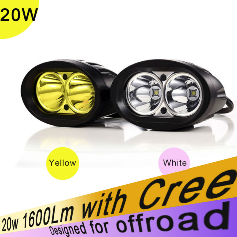 Polegada 12v 24 20w 4w Amarelo Branco Holofotes Offroad Driving Trabalho Light ATV UTV 4X4 SUV Truck Boat Offroad Da Motocicleta Como Nevoeiro Lam