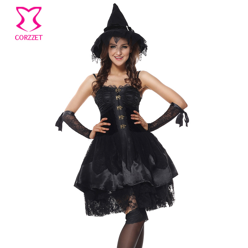 corzzet black lacesatin velvet corset dress halloween sexy women sorceress witch costume cospaly fancy - Corsets Halloween Costumes