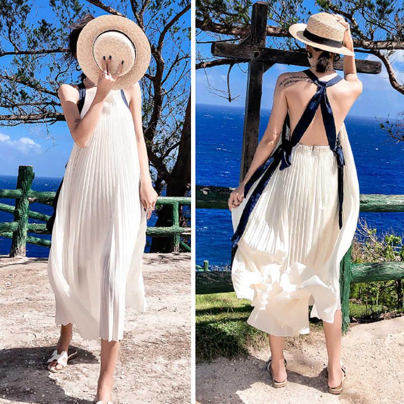 Женское длинное пляжное платье в стиле бохо, белое шифоновое плиссированное платье с притягательно открытой спиной, эластичным поясом и перекрестной шнуровкой лентами, лето 2019