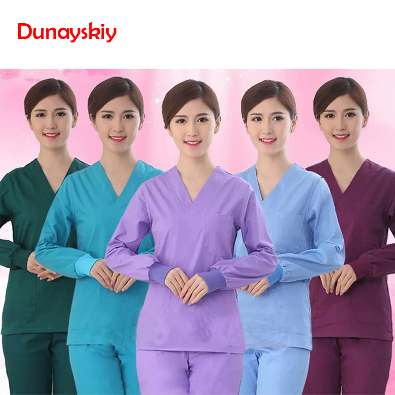 Medical Hand - Washing Clothes Fashion Solid Short Sleeve Scrub Sets Suit Surgery Clothes Brush Hand Clothes Surgical Clothing