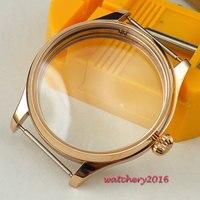 44mm Relógio 316L polido Moldura de aço inoxidável rosa de ouro CASO banhado fit 6498 6497 movimento watchcase vidro mineral endurecido|watchcase| |  -