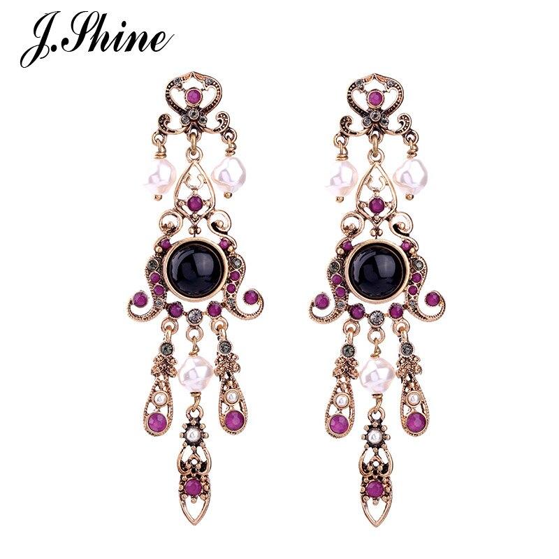 Jshine 2017 Costume Jewelry Geometric Chandelier Purple Crystal Earrings For Women Long Fashion