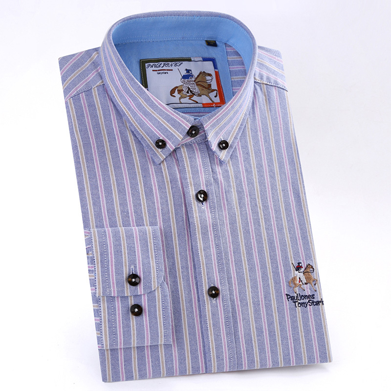 Men's Button Collar Long Sleeve Striped Oxford Dress Shirt with Embroidered  Logo Comfortable Cotton Casual Regular fit Shirts-in Dress Shirts from  Men's ...