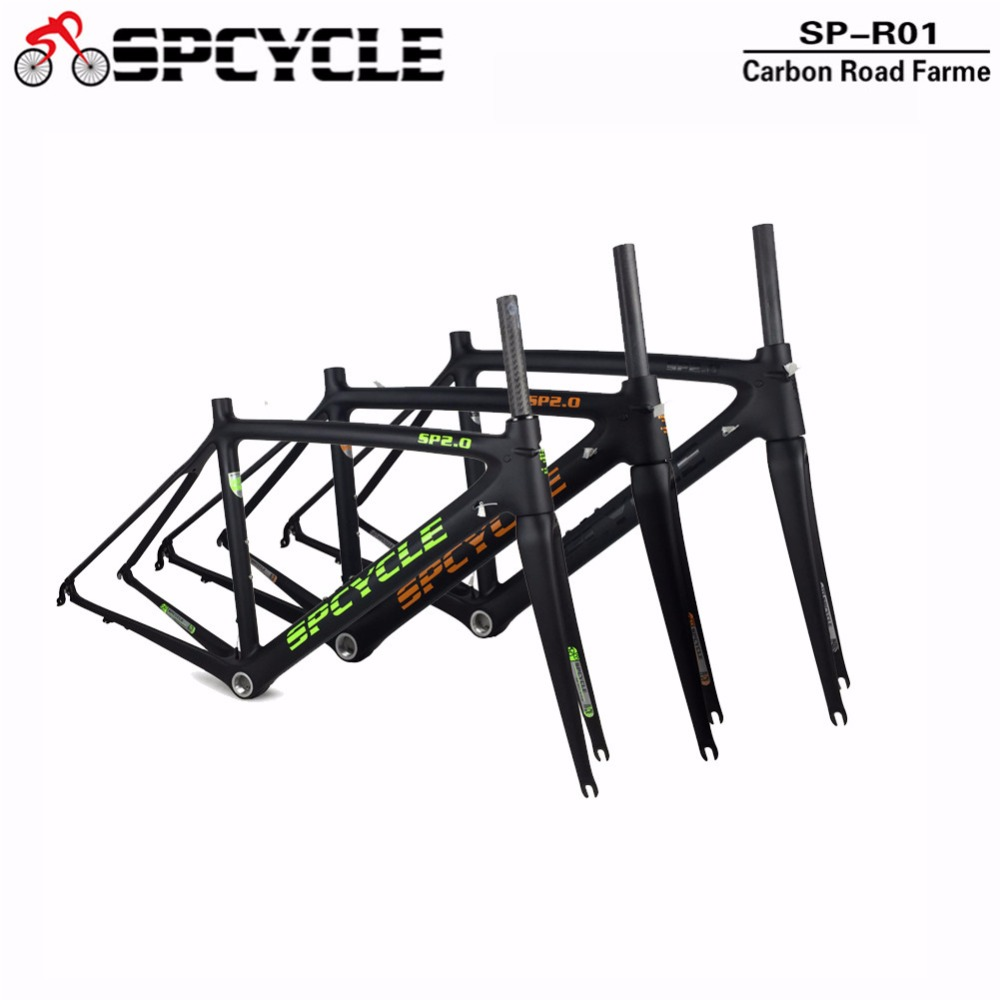 Spcycle Racing Road Bicycle Carbon Frames, Carbon Road Bike Framesets, Cycling Road Bicycle Frame+Fork+headset+clamps BSA 68mm 2018 carbon fiber road bike frames black matt clear coat china racing carbon bicycle frame cycling frameset bsa bb68