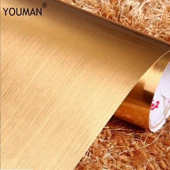 Ropa De Cama De Plata Y Oro   Fondos De Pared Youman3D Moderno Grueso Oro Y Plata Cepillado Color Película PVC Autoadhesivo Papel Pintado Muebles Reacondicionado Impermeable
