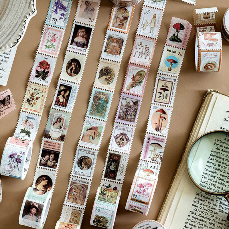 Kawaii Sticky Adhesive Tape Vintage Stamp Stickers Pig Stickers For Kids Scrapbooking DIY Photos Albums Supplies Stationery