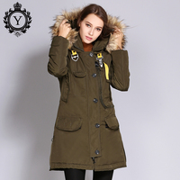 COUTUDI Women Thick Winter Jacket Big Faux Fur Hooded Warm Female Parka Coats Windbraker Polyester Overcoat