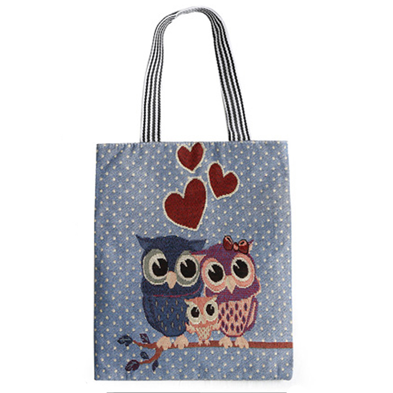 Hot sale Cartoon Owls Pattern Handbag Female High Quality Portable Girl's Shoulder Bag Fashion Casual School Bag Shopping Bag high quality flowers and shopping girl pattern removeable wall stickers