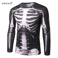 Stylish 3D Skull Print T shirts Men s Cloting Long Sleeve t shirt Men tops tees