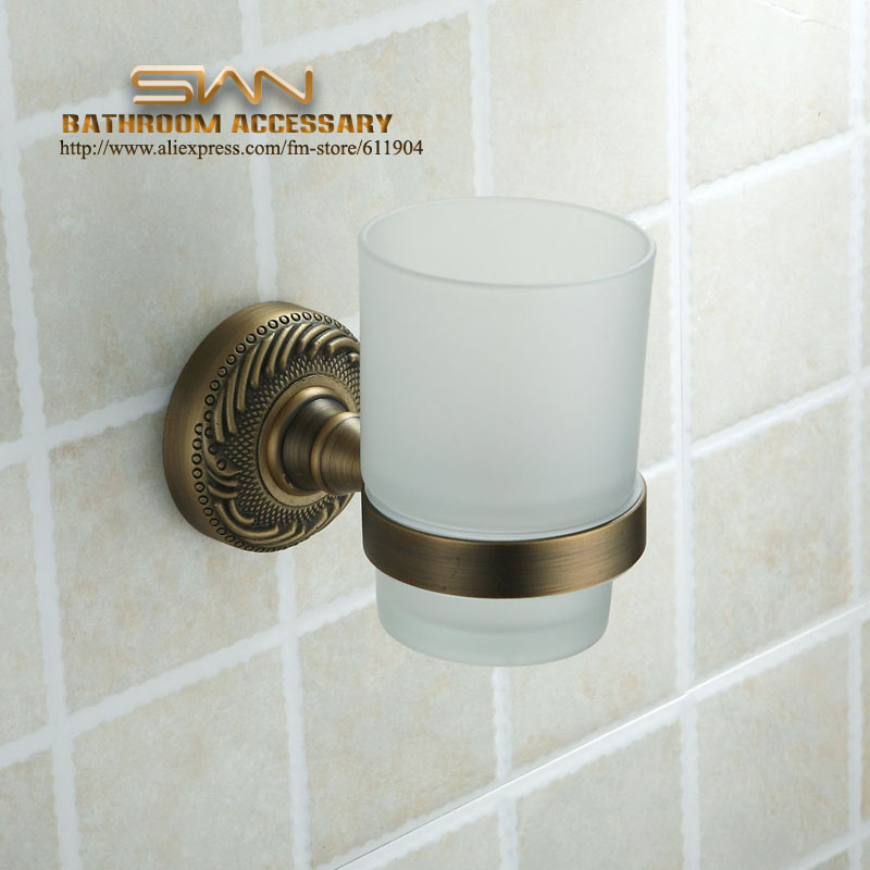 ФОТО Antique Brass Finish Toothbrush Cup Tumbler Holders Clear Glass Bathroom Hardware 3A11611