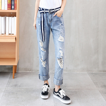 Rotten holes jeans Easy Spring 2019 Ninth pants BF straight trousers with high waist