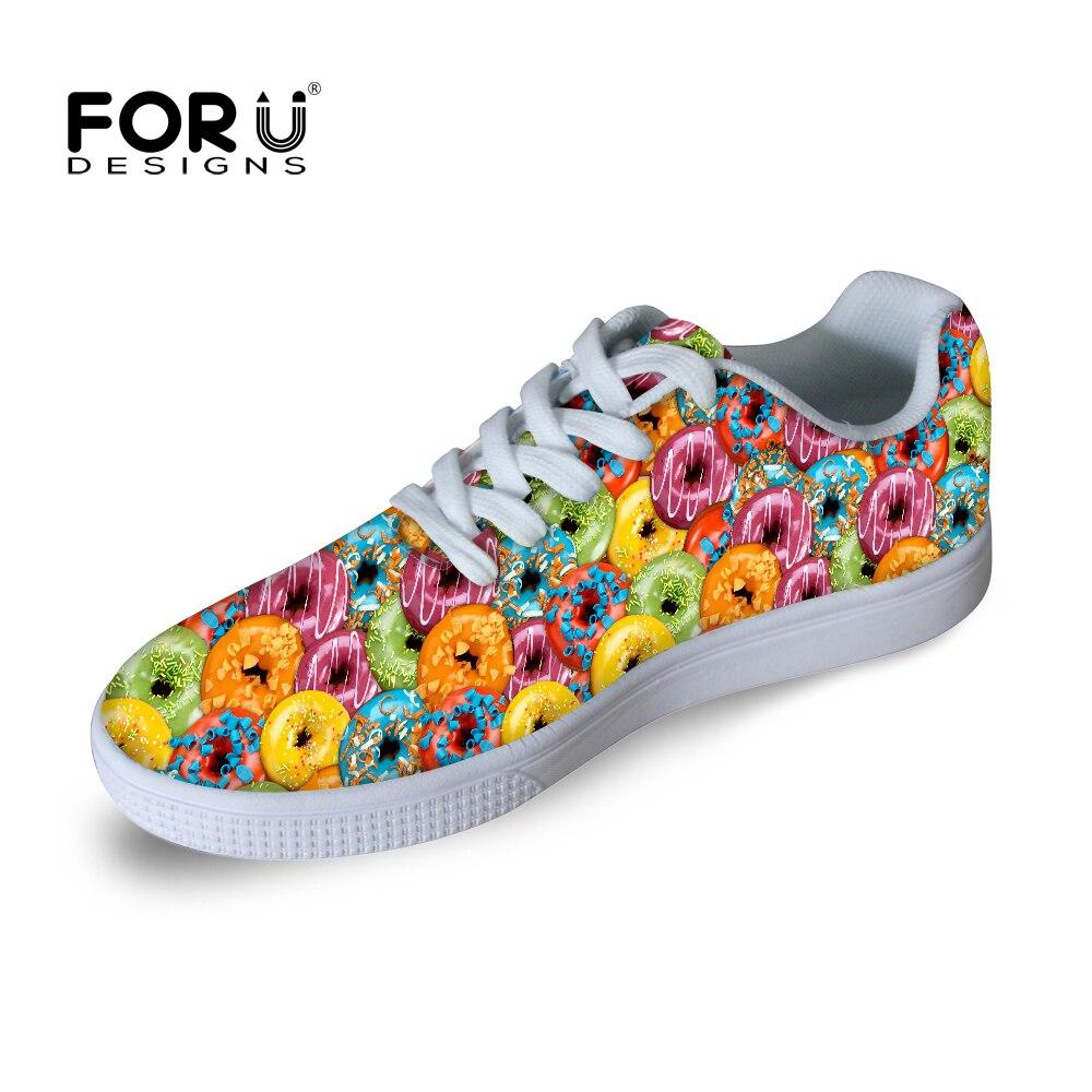 Prix pour FORUDESIGNS Bonbons Colorés Motif Planche À Roulettes Chaussures Sneakers Femmes Skate Chaussures Femme Athlétisme Chaussures pour Custom Design Cadeaux