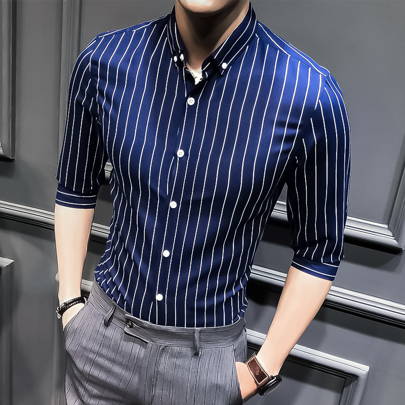 2019 New Mens Business Casual Short Sleeved Shirt Classic Striped Male Social Dress Shirts Black Blue Asian Size M-5XL
