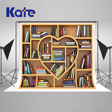 Kate 10x10ft Heart-Shaped Retro Bookcase Photography Backdrops Back To School Photo Background Students Photographic Backdrop
